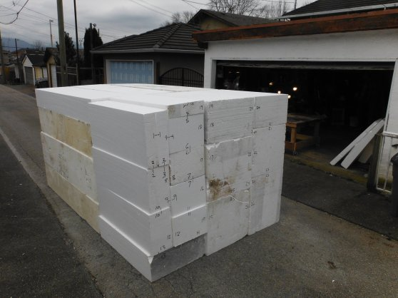 Measured and cut, the 504 cubic foot mass of foam that is to be our embrace heart sculpture.